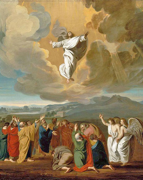 """Ascension,"" by John Singleton Copley, hangs in the Museum of Fine Arts in Boston, MA. Bishop O'Connell writes, ""This great feast – whenever its placement of the Catholic Church calendar occurs – commemorates our belief that the Risen Lord Jesus, gathered with his disciples on Mt. Tabor near Jerusalem, ascended body and soul into heaven, returning to his Father"" in his reflection on the Feast of the Ascension of the Lord."