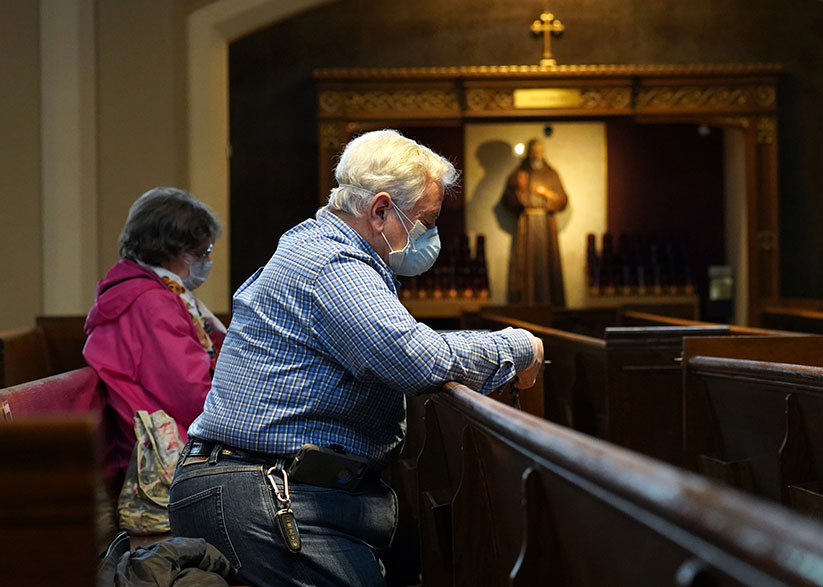 "Bishop David M. O'Connell, C.M., has announced a proposed date for limited ""in church"" weekend Masses: June 13-14. CNS photo/Gregory A. Shemitz"