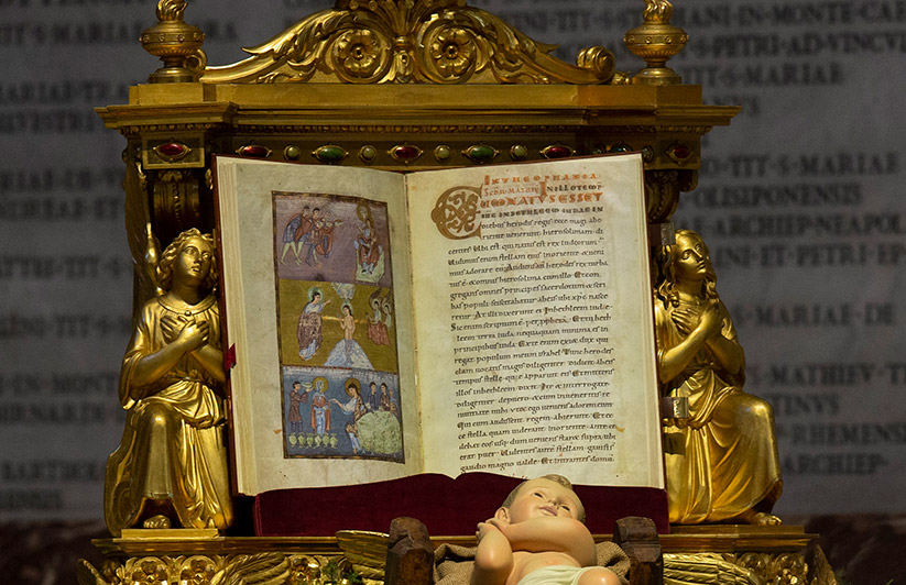 The Book of the Gospels in Latin is pictured in St. Peter's Basilica at the Vatican Jan. 6, 2021. A survey conducted for the Bible Society found that increased reading of the Bible during the pandemic led to a greater feeling of hope in God and confidence in the future. CNS photo/Paul Haring